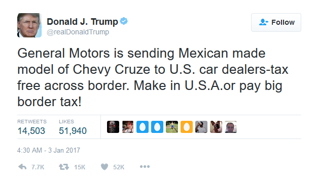 President Trump's Tweet to General Motors